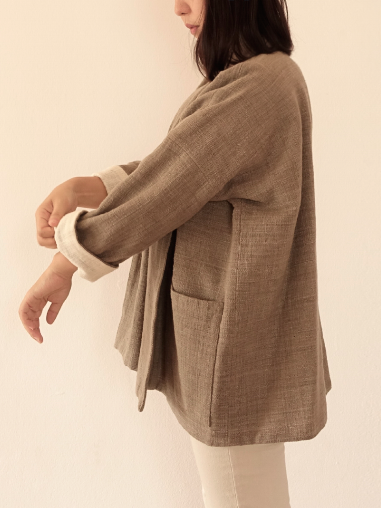 Hand-woven Oversize Cardigan Jacket_Guava Grey