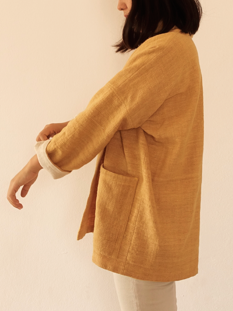 Hand-woven Oversize Cardigan Jacket_Jackfruit Yellow