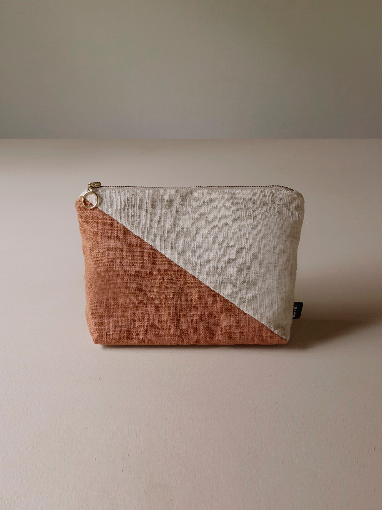 Hand-woven Pouch(Color Block)_Red Taro