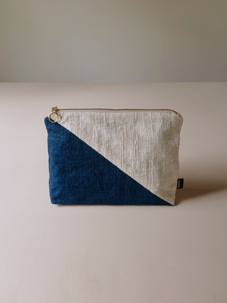 Hand-woven Pouch(Color Block)_Indigo Navy