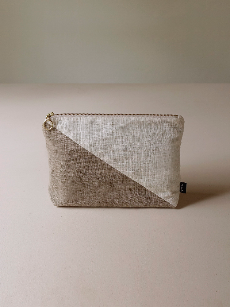 Hand-woven Pouch(Color Block)_Guava Grey