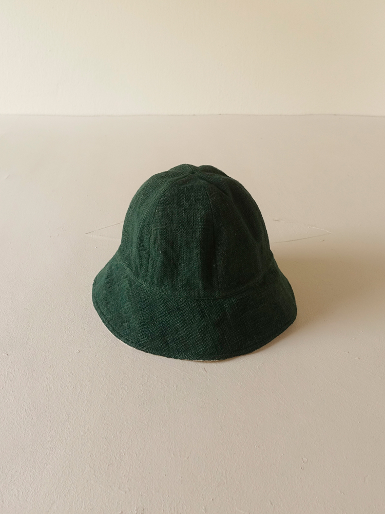 Hand-woven Buckethat (round)_Deep Green