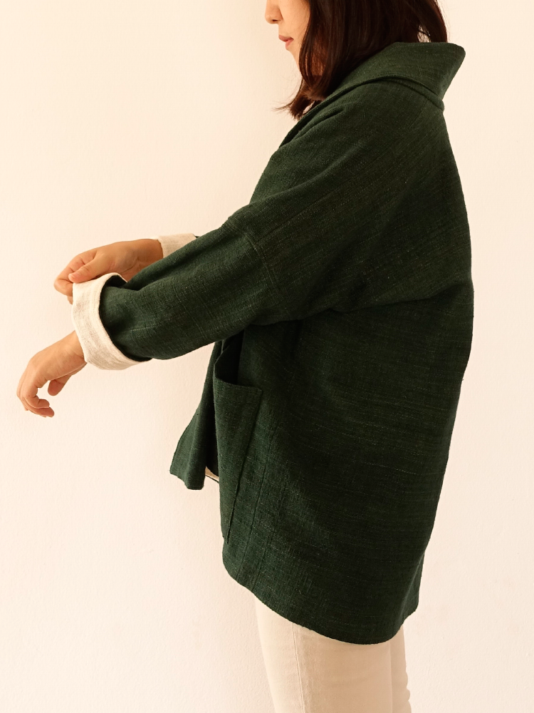 Hand-woven Oversize Cardigan Jacket_Deep Green