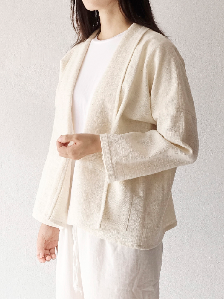 Hand-woven Oversize Easy Cardigan_Organic White