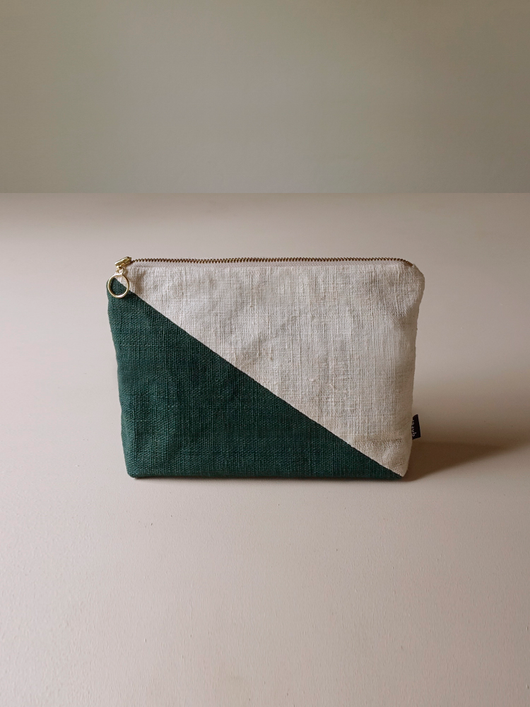 Hand-woven Pouch(Color Block)_Deep Green