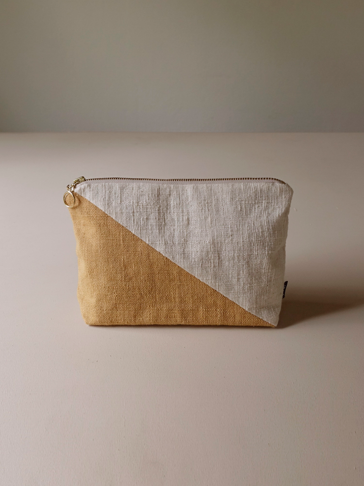 Hand-woven Pouch(Color Block)_Jackfruit Yellow