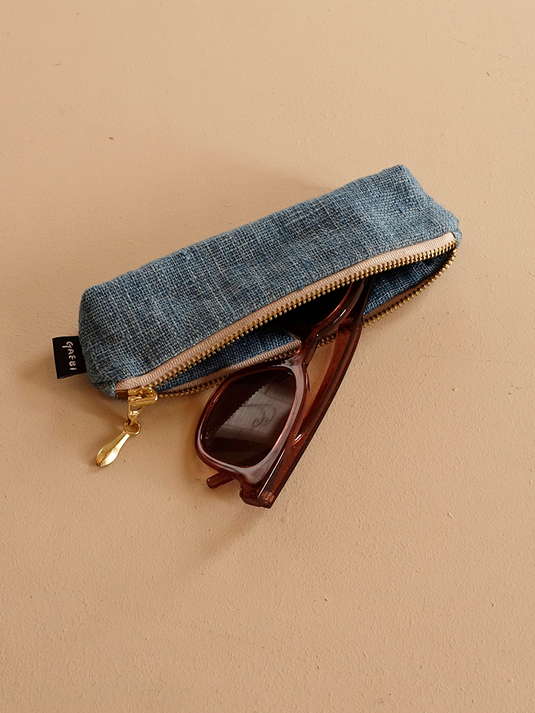 Hand-woven Pencil Case_Indigo Blue