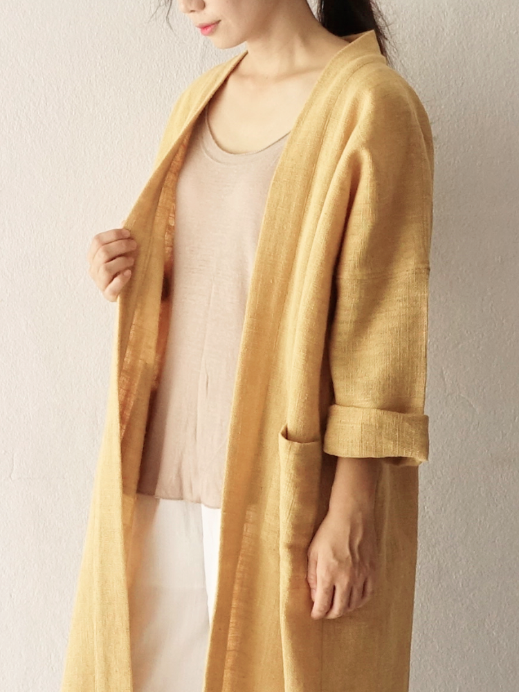 Hand-woven Oversize Long Robe Cardigan_Jackfruit Yellow