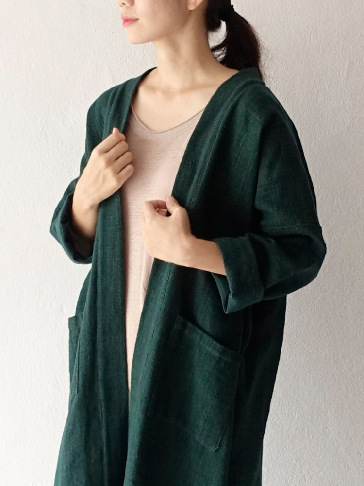 Hand-woven Oversize Long Robe Cardigan_Deep Green