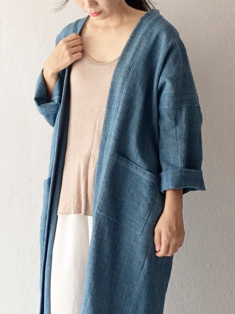 Hand-woven Oversize Long Robe Cardigan_Indigo Blue