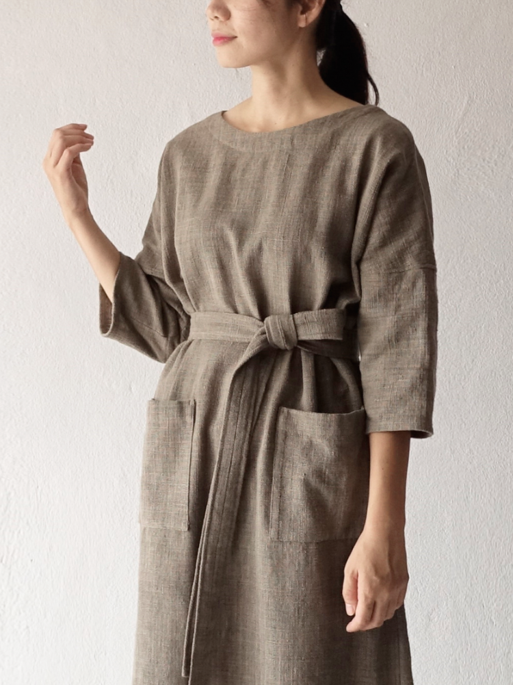 Hand-woven Dress_Guava Grey