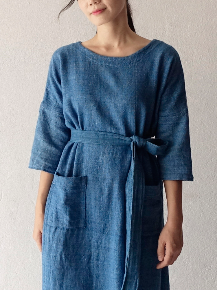 Hand-woven Dress_Indigo Blue