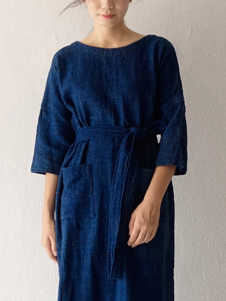 Hand-woven Dress_Indigo Navy