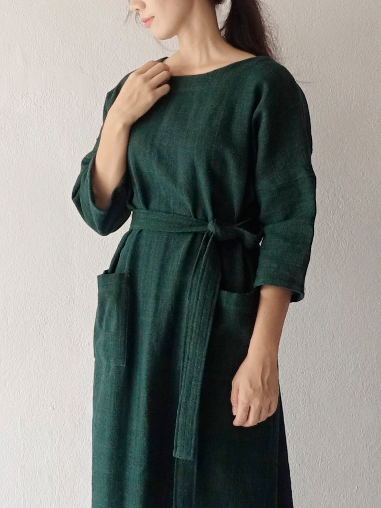 Hand-woven Dress_Deep Green