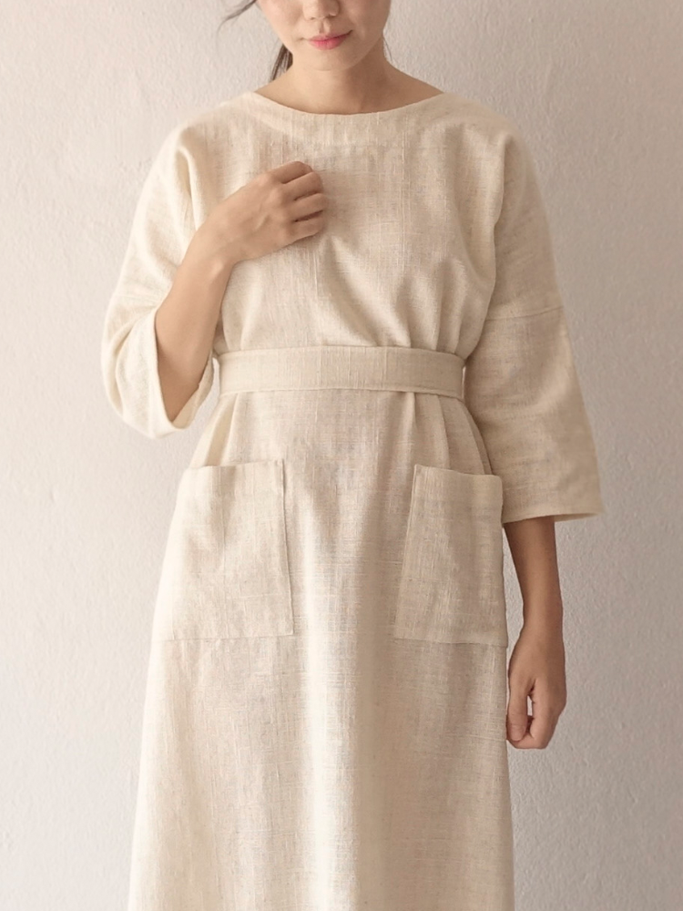 Hand-woven Dress_Organic White